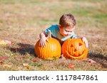 cute little kid with halloween... | Shutterstock . vector #1117847861