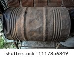 lonely rusty barrel.empty fuel... | Shutterstock . vector #1117856849