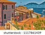 typical italian houses on... | Shutterstock . vector #1117861439