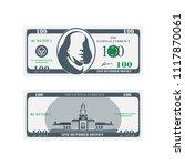 one hundred dollar banknote...   Shutterstock .eps vector #1117870061
