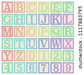 pastel alphabet blocks  ... | Shutterstock .eps vector #1117883795