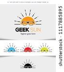 geek sun logo template vector... | Shutterstock .eps vector #1117885895