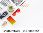 top view tablet  smartphone ...   Shutterstock . vector #1117886255