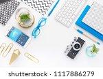 top view tablet  smartphone ...   Shutterstock . vector #1117886279