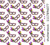 mardi gras masks seamless... | Shutterstock .eps vector #1117896077