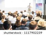 speaker giving a talk in... | Shutterstock . vector #1117902239