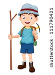 Boy Hiking vector illustration