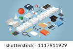 vector isometric back to school ... | Shutterstock .eps vector #1117911929