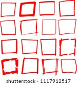 red hand drawn rectangle set | Shutterstock .eps vector #1117912517