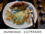 chicken and pasta  home food | Shutterstock . vector #1117933334