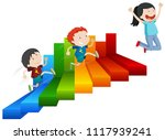 a happy girl reach on top of... | Shutterstock .eps vector #1117939241