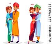 vector cartoon indian couples... | Shutterstock .eps vector #1117966535
