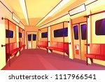 vector cartoon subway train... | Shutterstock .eps vector #1117966541