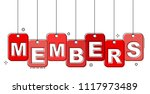 red flat line tag members | Shutterstock .eps vector #1117973489