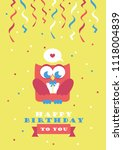 happy owl birthday card design. ... | Shutterstock .eps vector #1118004839