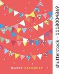 happy birthday card design.... | Shutterstock .eps vector #1118004869