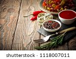 pasta in a composition with... | Shutterstock . vector #1118007011