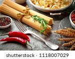 pasta in a composition with... | Shutterstock . vector #1118007029