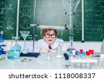 clever schoolboy on a chemistry ... | Shutterstock . vector #1118008337
