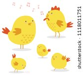 set of cute chicken family | Shutterstock .eps vector #1118011751