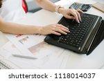 businesswoman working with... | Shutterstock . vector #1118014037