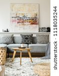 painting above grey couch in... | Shutterstock . vector #1118035244