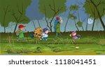 backpacking tourist kids go... | Shutterstock .eps vector #1118041451