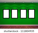 four empty photo frame on green wall and four spot lights. exhibition concept. 3d render - stock photo