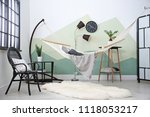 beautiful room interior with... | Shutterstock . vector #1118053217
