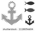 fish anchor halftone...   Shutterstock .eps vector #1118056604