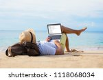 man reading email on laptop...   Shutterstock . vector #1118068034