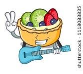 with guitar fruit tart mascot... | Shutterstock .eps vector #1118083835