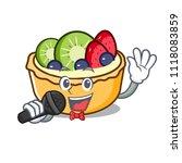 singing fruit tart mascot... | Shutterstock .eps vector #1118083859