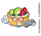 gamer fruit tart mascot cartoon | Shutterstock .eps vector #1118083865