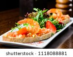 delicious seafood dish. bread... | Shutterstock . vector #1118088881