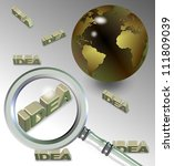 A magnifying glass above a group of words spelling idea / Searching for idea - stock photo