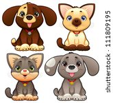 cute dogs and cats. funny... | Shutterstock .eps vector #111809195