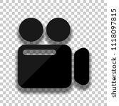 simple video camera icon. black ...