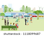 city view with pedestrians and... | Shutterstock .eps vector #1118099687