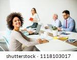 smiling black and white... | Shutterstock . vector #1118103017