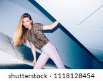 fashion editorial  ginger woman ... | Shutterstock . vector #1118128454