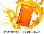 blank orange foil bag with... | Shutterstock .eps vector #1118131634