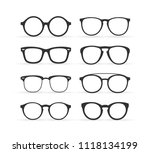 set of various custom glasses... | Shutterstock .eps vector #1118134199