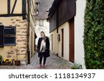 young female tourist walking in ... | Shutterstock . vector #1118134937