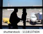 man with little boy having fun... | Shutterstock . vector #1118137604