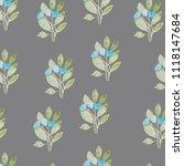 pattern  watercolor flowers ... | Shutterstock . vector #1118147684