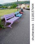 seats at largs war memorial  | Shutterstock . vector #1118157644