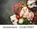 fresh meat assortment   beef ... | Shutterstock . vector #1118170967