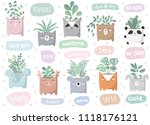 vector set of cute stickers... | Shutterstock .eps vector #1118176121