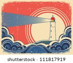 lighthouse with blue sea.grunge ... | Shutterstock . vector #111817919